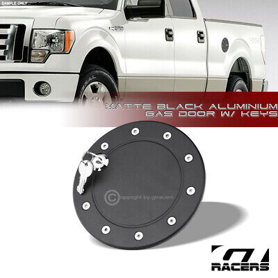 For 2009-2014 Ford F150 Pickup Matte Black Aluminum Fuel Gas Door Cover Cap Lock F150 Fuel Door