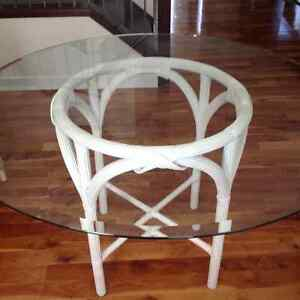 Gorgeous Glass dining table with 2 designer wicker/rattan chairs