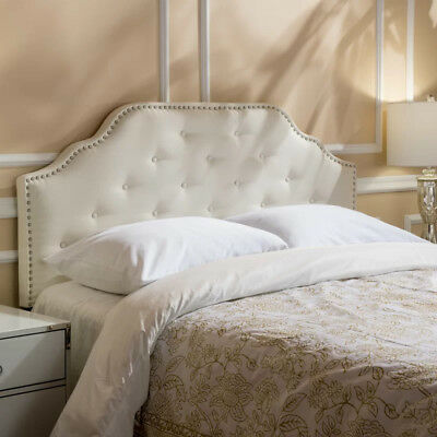 Queen Panel Headboard White Fabric Upholstered Button Tufted Nailhead Trim Full