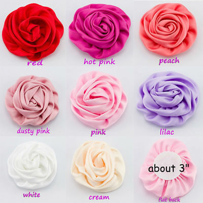 50pcs Satin Silk Fabric Flowers For Baby Headbands Hair Accessories DIY - Bulk Headband Supplies