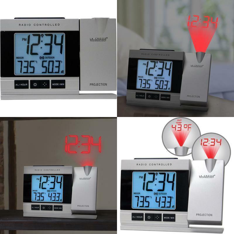 Alarm Clock Projection Clocks Indoor Outdoor Temperature Mon
