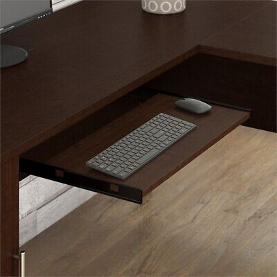 Somerset 72W L Shaped Desk with Hutch and File Cabinet in Mocha - Metallic Set Hutch