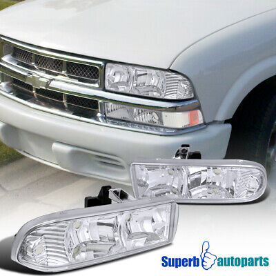 For 1998-2004 Chevy S10 Crystal Clear Headlights Blazer Head Lamps Replacement