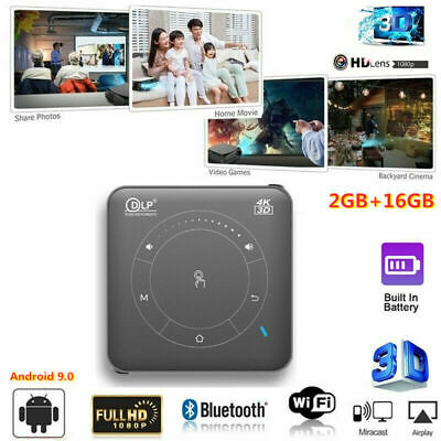 Mini Pocket DLP 3D 1080P HD Projector 2+16GB 4K WIFI Video Home Cinema HDMI USB