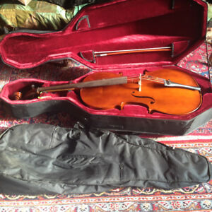 4/4 full size wooden CELLO w/ bow, Hard case & Soft Bag