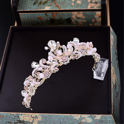Pink Crowns (Ladies Baroque Bridal Pink Crystal Beads Crown Wedding Tiara Headband)