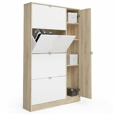 Tvilum Bright 4 Flap Door Shoe Cabinet with Mirror in Oak and White ()