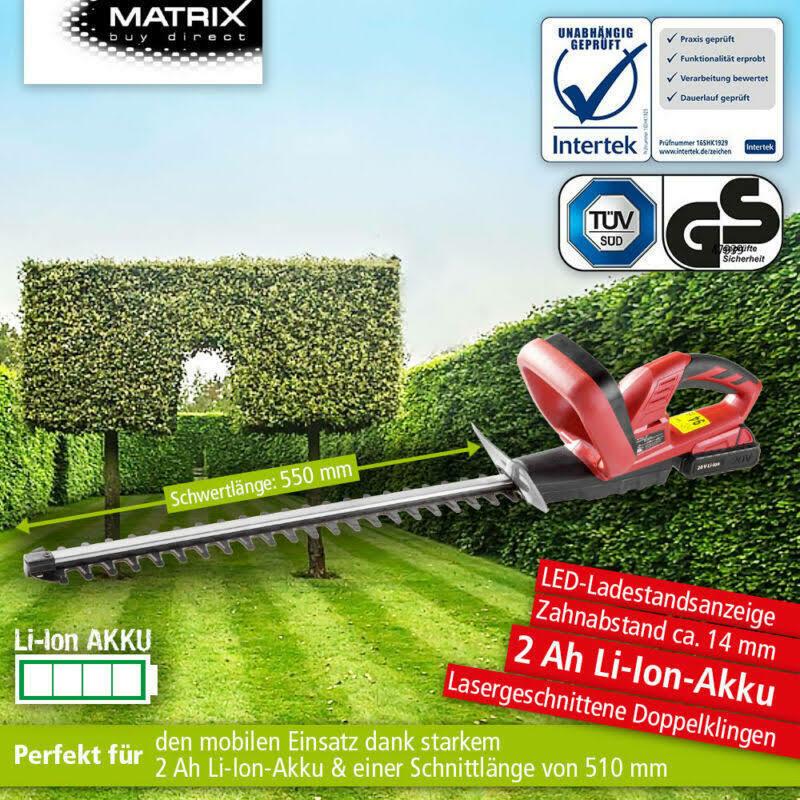 Matrix BHT 20-55 Akku Heckenschere 20 V incl. Akku + Ladegerät Heckentrimmer