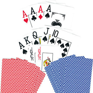 100% PLASTIC CASINO JUMBO INDEX POKER PLAYING CARDS -36 DECKS - NEW