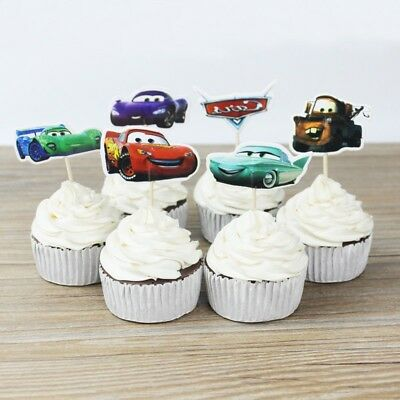 24pc Cars Party Theme Cupcace topper picks,Kid's party - Cars Birthday Party Theme