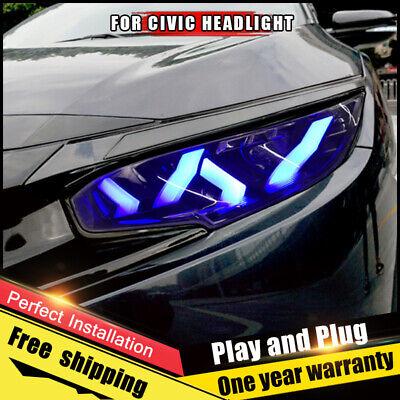 For Honda Civic Headlight assembly ALL LED Lens Double Beam LED KIT 2016-2019