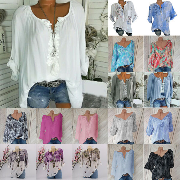 Plus Size Women V Neck Summer Tops Long Sleeve Tunic Baggy Loose Blouse T Shirts 1