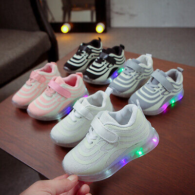 LED Children Boys Girls Light Up Sneakers Trainers Baby Kids Gift Luminous Shoes