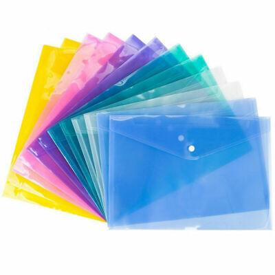 A4 Plastic Stud Document Wallets Files Folders Filing School Office Assorted New