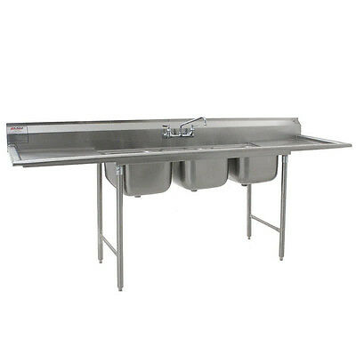 Eagle 412-24-3-18 3 Three Compartment Nsf Stainless Steel Sink W Drainboad 114