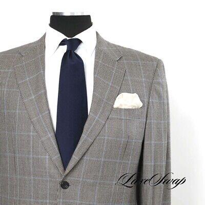 Hickey Freeman USA Madison Cut Grey Houndstooth Blue Check Flannel Jacket 42 R
