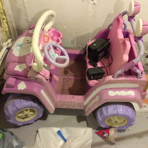 two seater Baby barbie jeep (pink colour) and boy's learner bike