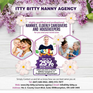 25% OFF- NANNY, ELDERLY CAREGIVER & CLEANING SERVICES