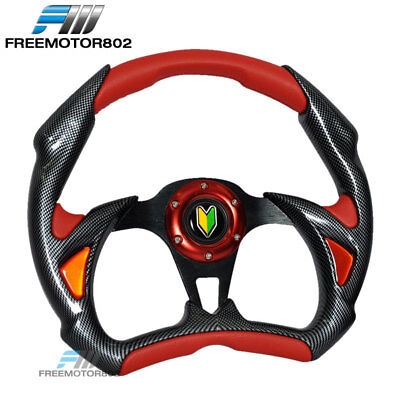 - Steering Wheel Battle Type 320mm Carbon Fiber Red With Horn PVC Leather