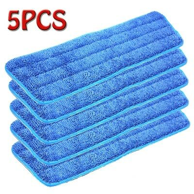 "5Pcs Blue Microfiber Mop Pads Head Wet Dry Mops Refill For 15"" Flat Mop Base New"