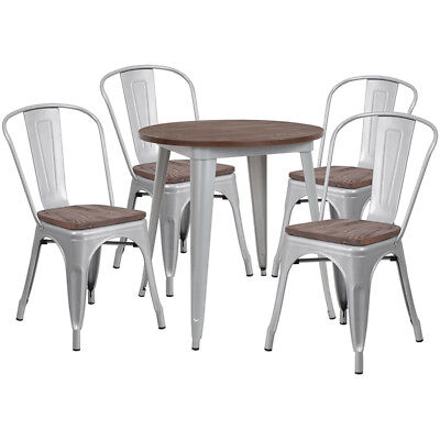26 Round Silver Metal Restaurant Table Set With Walnut Wood Top And 4 Chairs