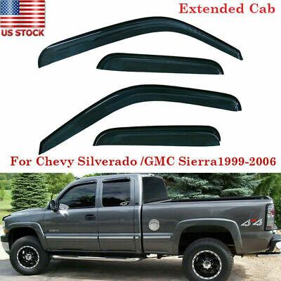 4pcs Sun/Rain Guard Vent Shade Window Visor Fit Chevy Silverado/GMC Sierra 99-06