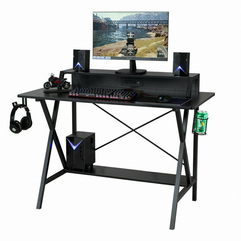 """47"""" Gaming Table Computer Desk Laptop PC Study Writing Table W/ USB & Cup Holder 5"""