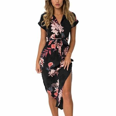 Dress Summer Bohemian Women Short Sleeve Elegant Club Party Office Work Ladies D Bohemian Club