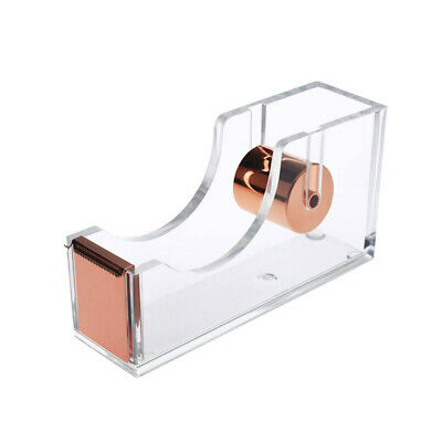 Deluxe Acrylic Design Office Desktop Tape Dispenser Clear Rose Gold T9o3