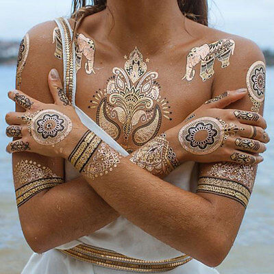 HENNA TEMPORARY TATTOO METALLIC TEMPORARY TATTOO GOLD FLASH TATTOOS TRIBAL BOHO
