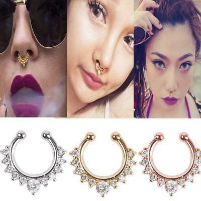 Fake Nose Ring Fake Clip On Non Piercing Crystal Septum Stud Faux - Fake Nose Ring Stud