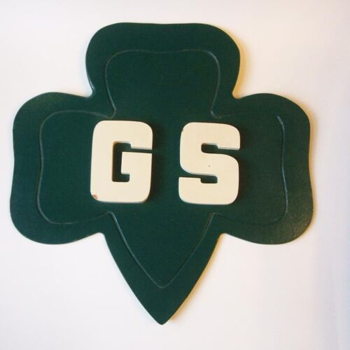 Vintage Girl Scouts of America Trefoil Shaped GS Painted Wood Sign Union Made