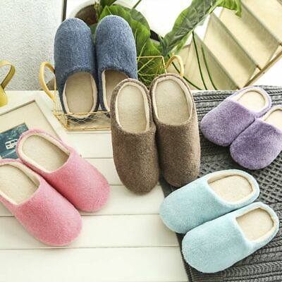 1pair Men Women Soft Touch Warm Indoor Slippers Mute House H