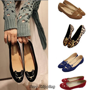 New-Womens-Super-Cute-Kitty-Cat-Loafer-Flat-Shoes