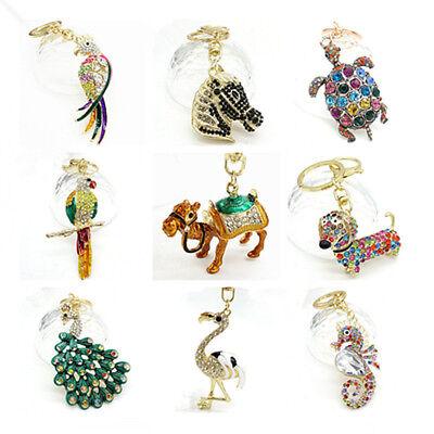 Key Chains Animal Keyring Purse Bag Rhinestone Crystal Charm Pendant Necklace (Animal Keychains)