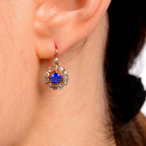 Vintage Style 2.22Ct Antique Cut Diamond Sapphire Silver Cluster Earring Jewelry