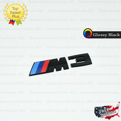 BMW M3 Emblem Glossy Black M Series Badge Rear Trunk Logo Sticker Competition