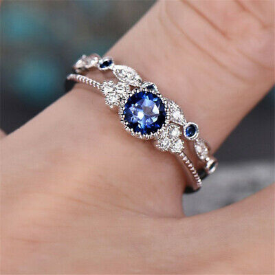 2Pcs/Set Cheap Fashion Silver Plated Women Blue Crystal Wedding Bridal Lady Ring](Cheap Womens)