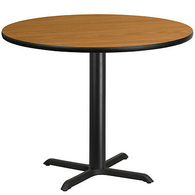 42 Round Natural Laminate Table Top With 33 X 33 Table Height Base