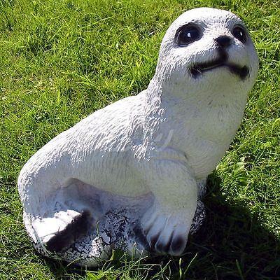 SEEHUND BABY HEULER ROBBE 27 cm Deko Figur Garten Tier Skulptur lebensgroß Teich
