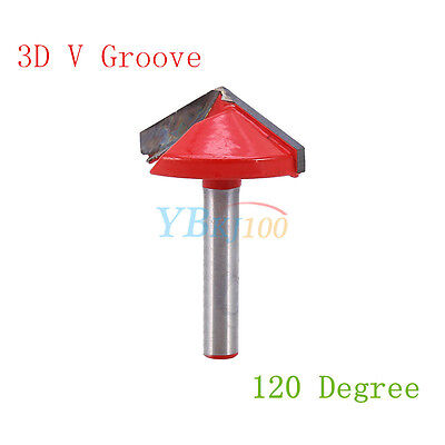 1 Router Cnc Engraving Bit Cutter Tool 6mm X 32mm 120 Degree 3d V Groove