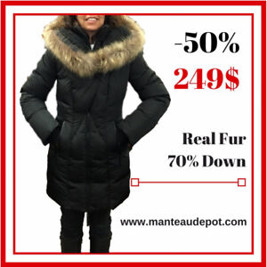 LIQUIDATION PRICES!! Save on DUVET WINTER COATS with REAL FUR!!