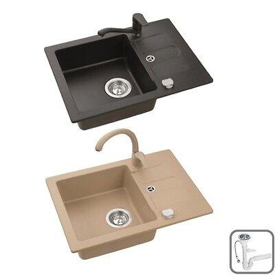 Spüle Spülbecken JUMP10 Granit Küche 58x42 Schwarz Beige Armatur SWAN oder LOW - Swan Küche