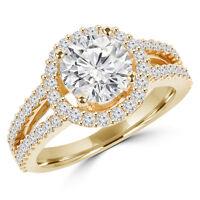 Bague de fiançailles 1.55CTW Yellow Gold Diamond Engagement Ring