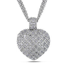 Amour Sterling Silver 1 Carat Diamond Heart Love Strand Necklace Pendant 925 17