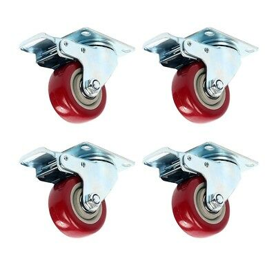 Heavy Duty 4pack 3 Caster Wheels Swivel Plate Total Lock Brake Red Polyurethane