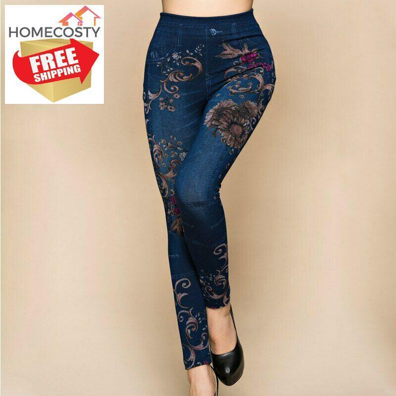 Pantalones De Mujer Cintura Alta Tipo Jeans Legins Para Dama Licras Denin Sexy Ebay