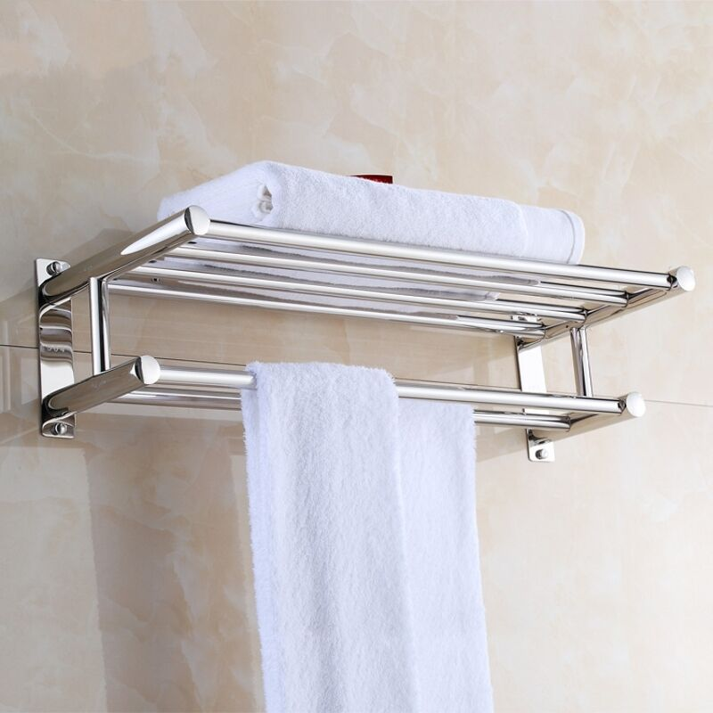 Modern and Stylish Double-Layer Chrome Wall Mounted Towel Rail ...