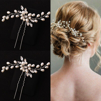 Wedding Hair Pin Decorative Hair Accessories for Bridal Crystal Pearl Flower - Flowers For Hair