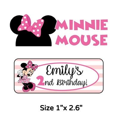 50 Minnie Mouse Birthday Party Stickers Labels For Goodie Bags Or Favors